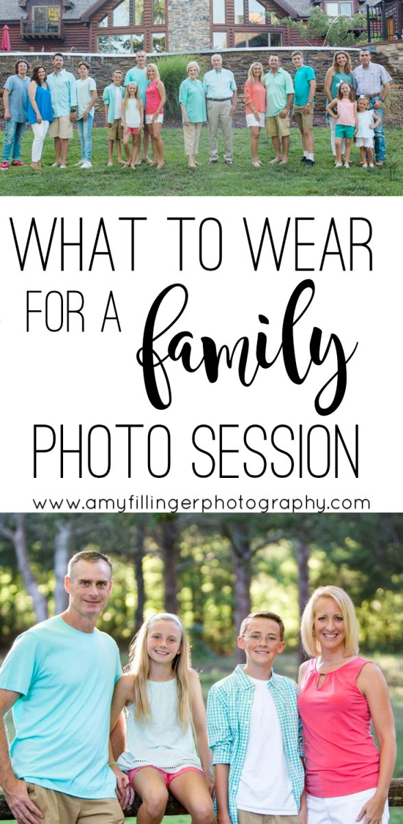 Are you wondering what to wear for a family photo session? Branson Photographer Amy Fillinger has worked with dozens of families and extended families traveling to the Branson area. Here is her advice on what to wear for extended family photos or immediate family. #familyphototips #extendedfamilyphotosession #familyphotosession #familyphotos #photographytips